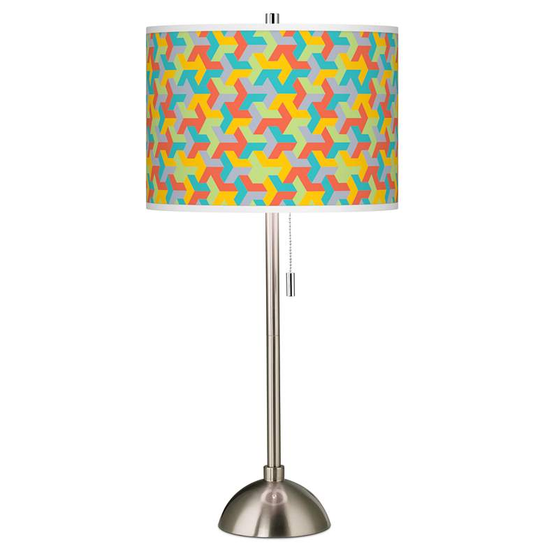 Color Sprint Giclee Brushed Nickel Table Lamp