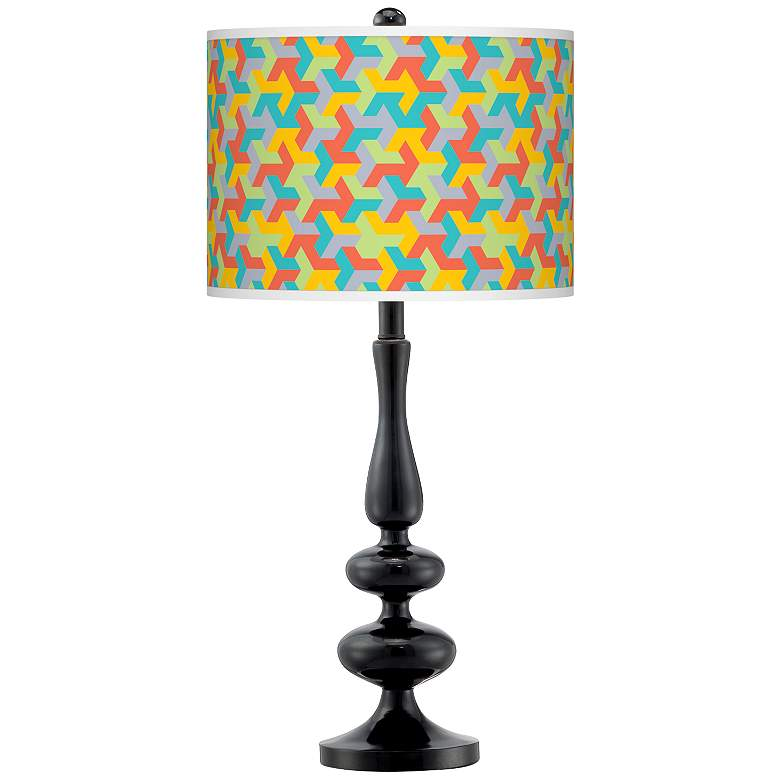 Color Sprint Giclee Paley Black Table Lamp