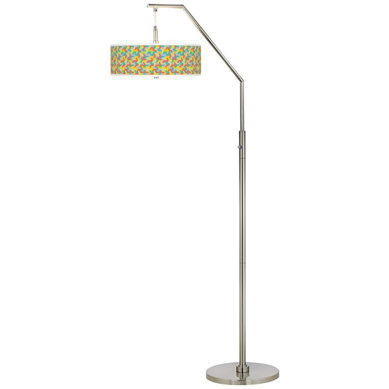 Color Sprint Giclee Shade Arc Floor Lamp