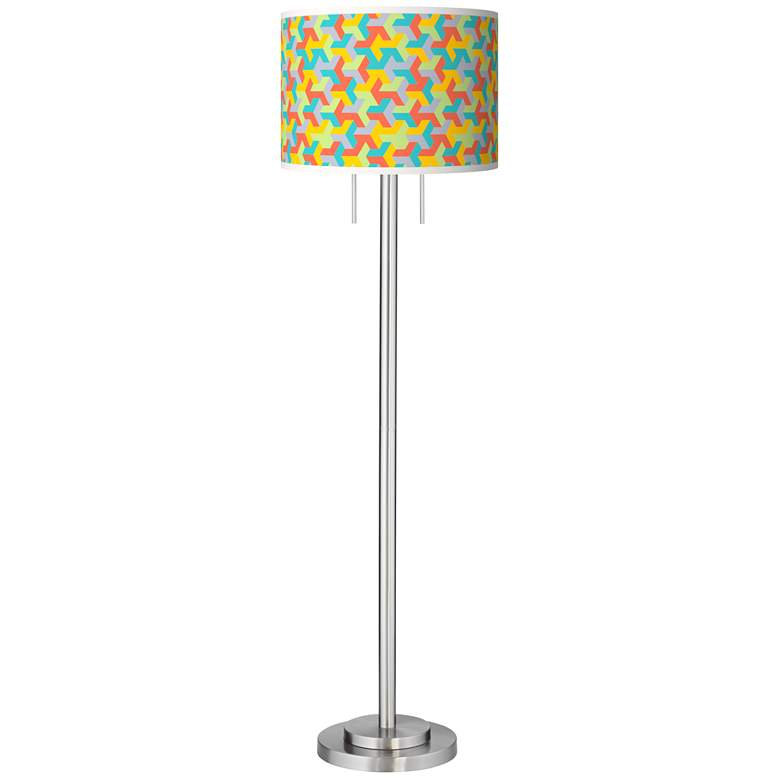 Color Sprint Giclee Brushed Nickel Garth Floor Lamp