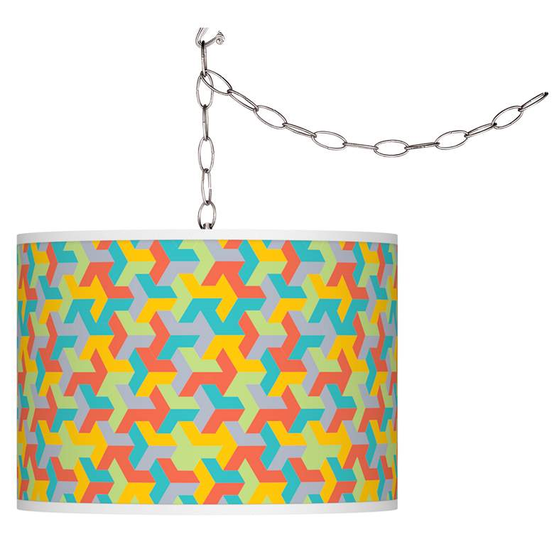 Swag Style Color Sprint Giclee Shade Plug-In Chandelier