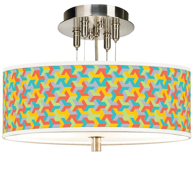 "Color Sprint Giclee 14"" Wide Ceiling Light"