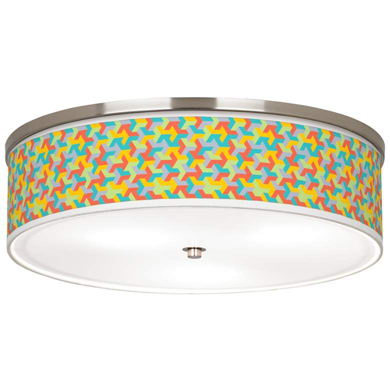 """Color Sprint Giclee Nickel 20 1/4"""" Wide Ceiling Light"""