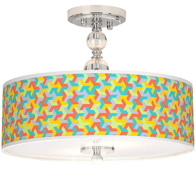 "Color Sprint Giclee 16"" Wide Semi-Flush Ceiling Light"