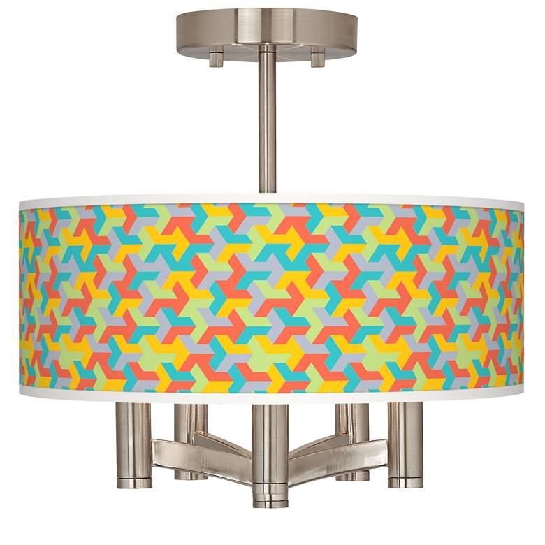 Color Sprint Ava 5-Light Nickel Ceiling Light