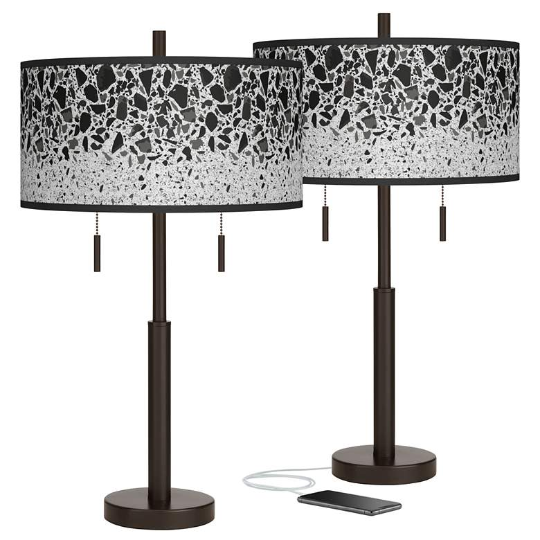 Terrazzo Robbie Bronze USB Table Lamps Set of 2