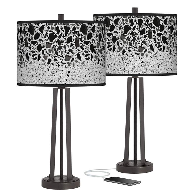Terrazzo Susan Dark Bronze USB Table Lamps Set of 2