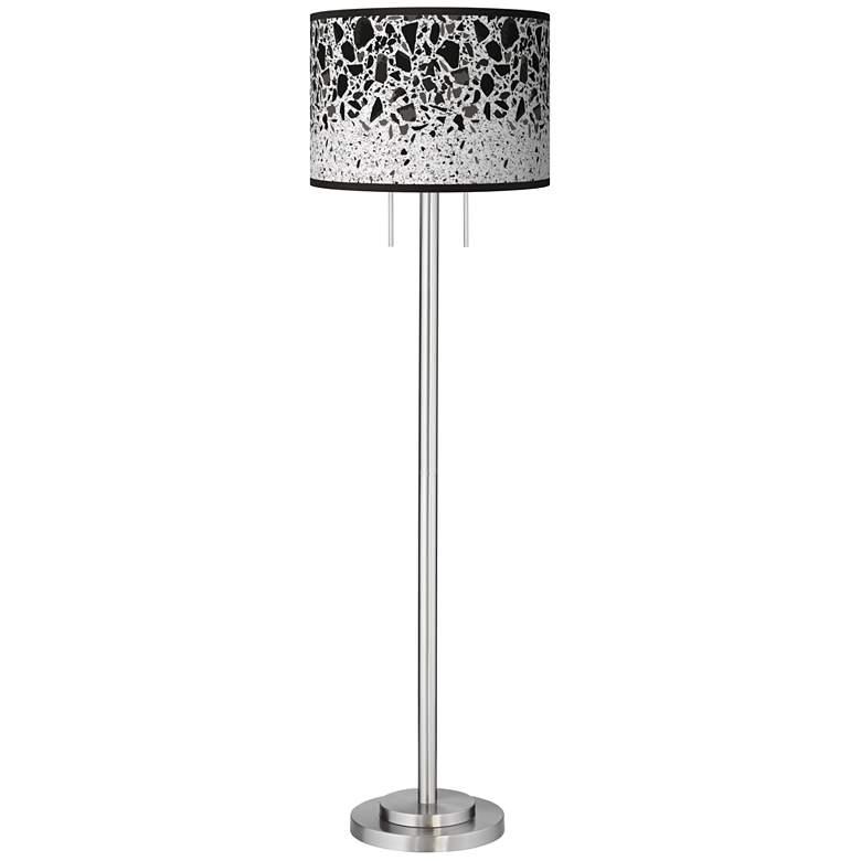 Terrazzo Giclee Brushed Nickel Garth Floor Lamp
