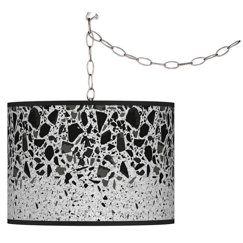 Swag Style Terrazzo Giclee Shade Plug-In Chandelier