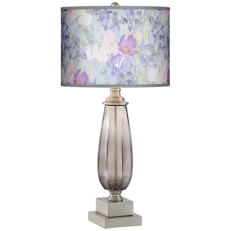 Palmer Modern Table Lamp with Spring Flowers Metallic Shade