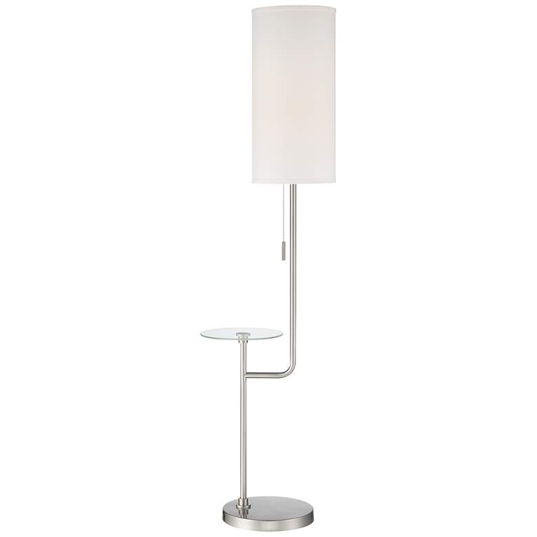 Possini Euro Piccolo Brushed Nickel Floor Lamp with Glass Tray Table