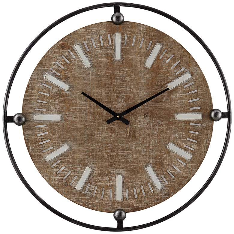 """Delaney Matte Black and Brown 28 1/4"""" Round Wall Clock"""