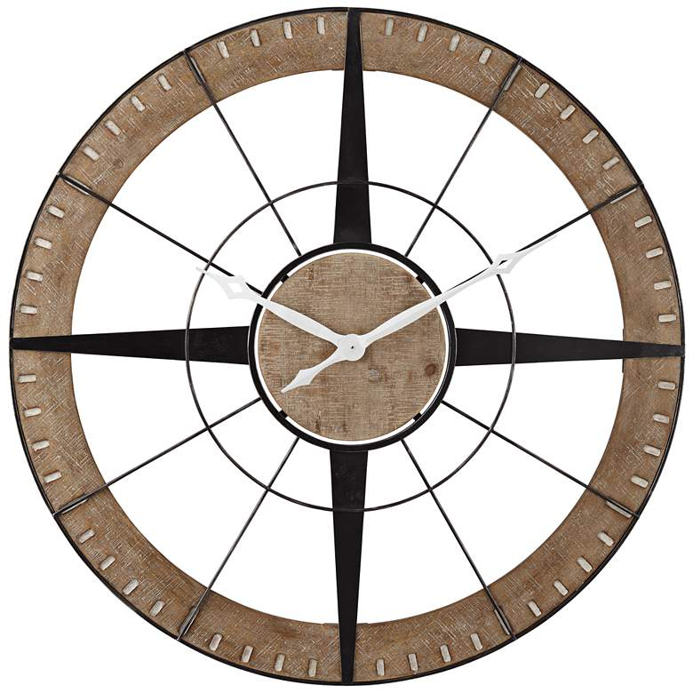 """Starboard Matte Black and Brown 36 1/2"""" Round Wall Clock"""