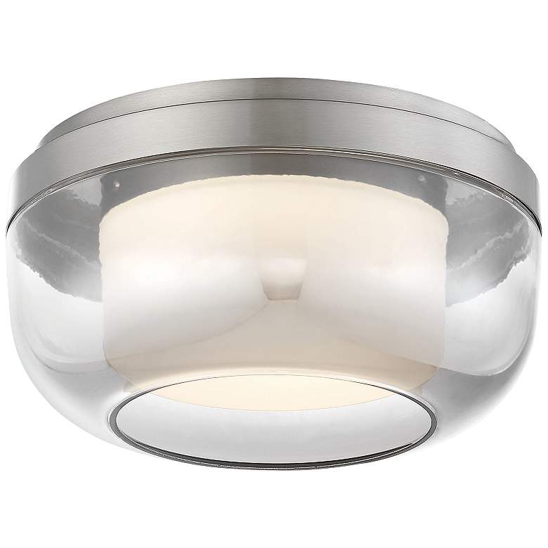 """First Encounter 10"""" Wide Brushed Nickel LED Ceiling Light"""