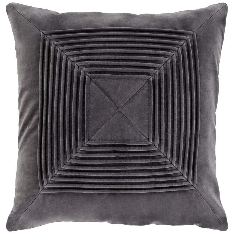"Surya Akira Charcoal Velvet 18"" Square Decorative Pillow"