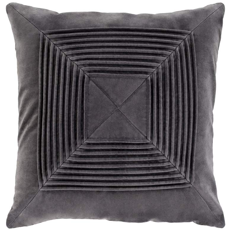 "Surya Akira Charcoal Velvet 22"" Square Decorative Pillow"