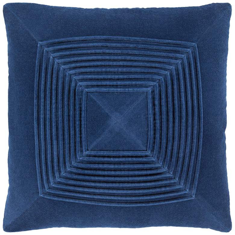 "Surya Akira Navy Velvet 22"" Square Decorative Throw Pillow"