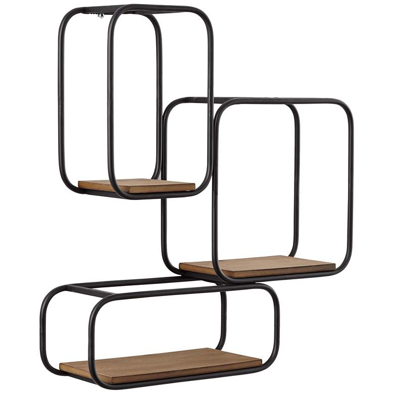 Jasper Matte Black and Brown Tri-Stacked Square Wall Shelf
