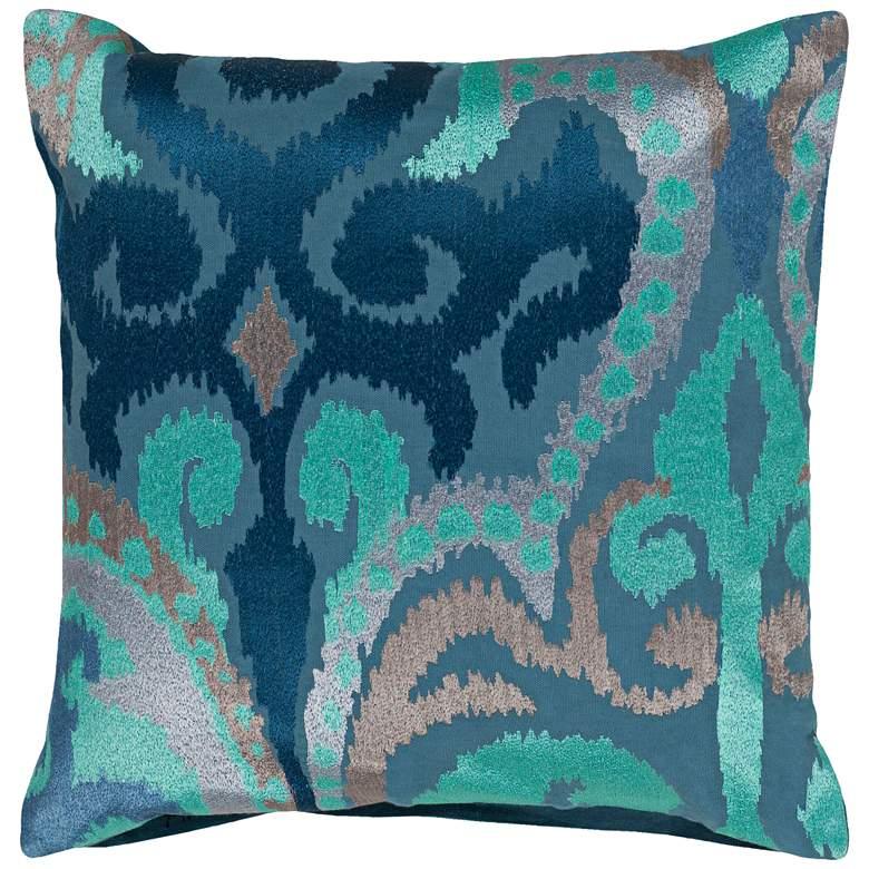 """Surya Ara Lilac and Aqua 22"""" Square Decorative Throw Pillow"""