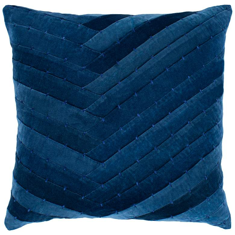"Surya Aviana Dark Blue w/ Navy 22"" Square Decorative Pillow"