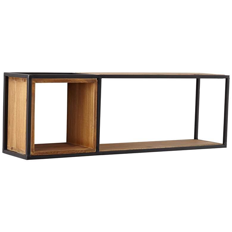 Yelm Matte Black Metal and Brown Wood Dual Rectangular Wall Shelf