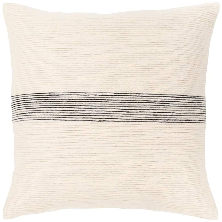 "Surya Carine Cream and Black 18"" Square Decorative Pillow"