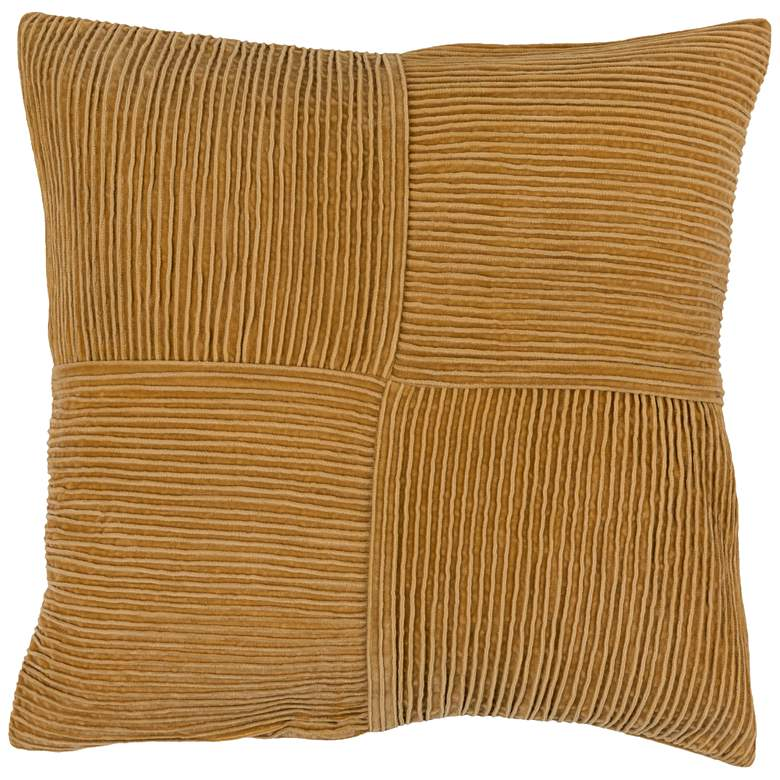 "Surya Conrad Mustard 22"" Square Decorative Throw Pillow"