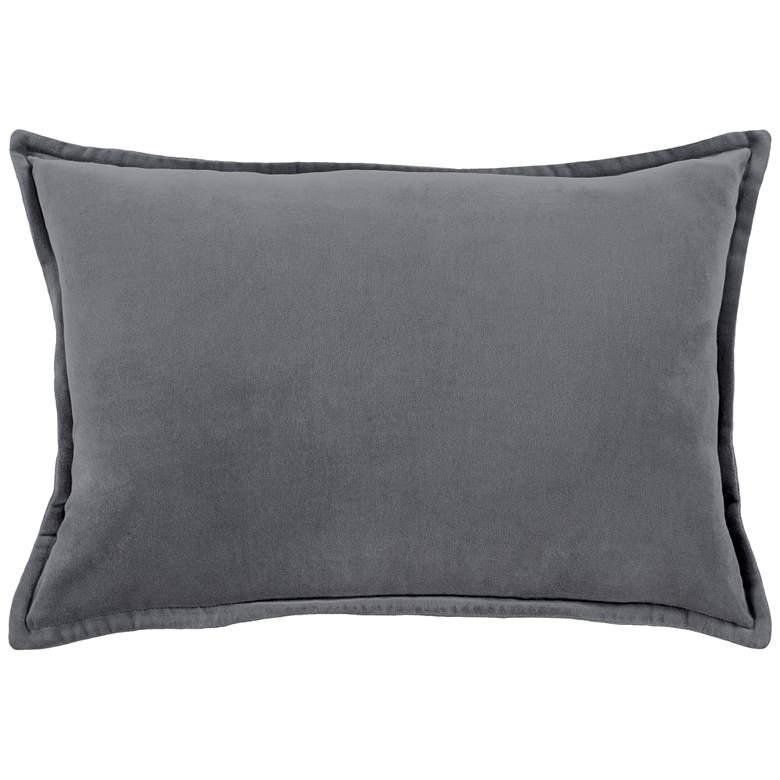 """Surya Cotton Velvet Charcoal 19"""" x 13"""" Decorative Pillow"""