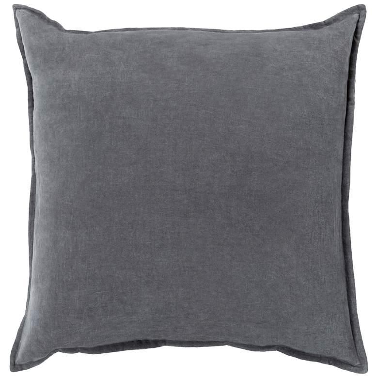"""Surya Cotton Velvet Charcoal 20"""" Square Decorative Pillow"""