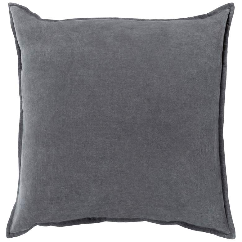 """Surya Cotton Velvet Charcoal 22"""" Square Decorative Pillow"""