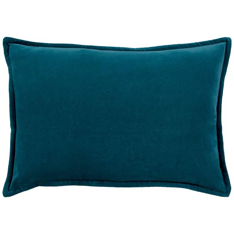 "Surya Cotton Velvet Teal 19"" x 13"" Decorative Throw Pillow"