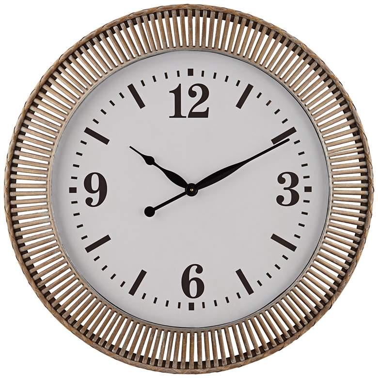 "Jericho Matte Brown Rattan 32 1/4"" Round Wall Clock"