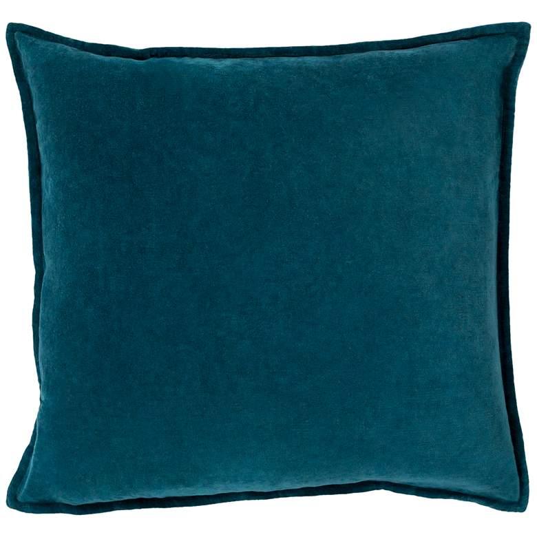 "Surya Cotton Velvet Teal 22"" Square Decorative Throw Pillow"