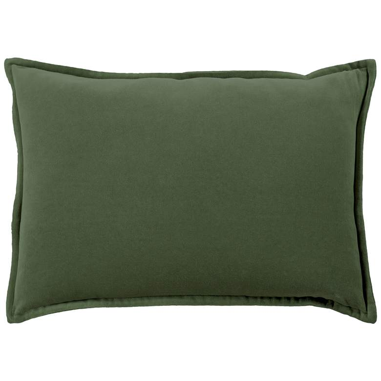 "Surya Cotton Velvet Dark Green 19"" x 13"" Decorative Pillow"