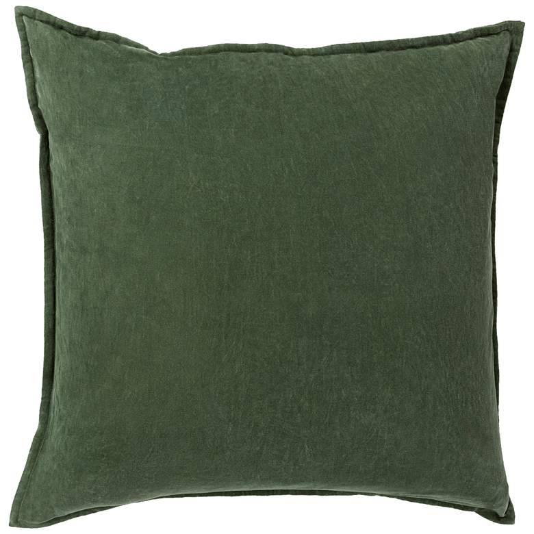 "Surya Cotton Velvet Dark Green 18"" Square Decorative Pillow"