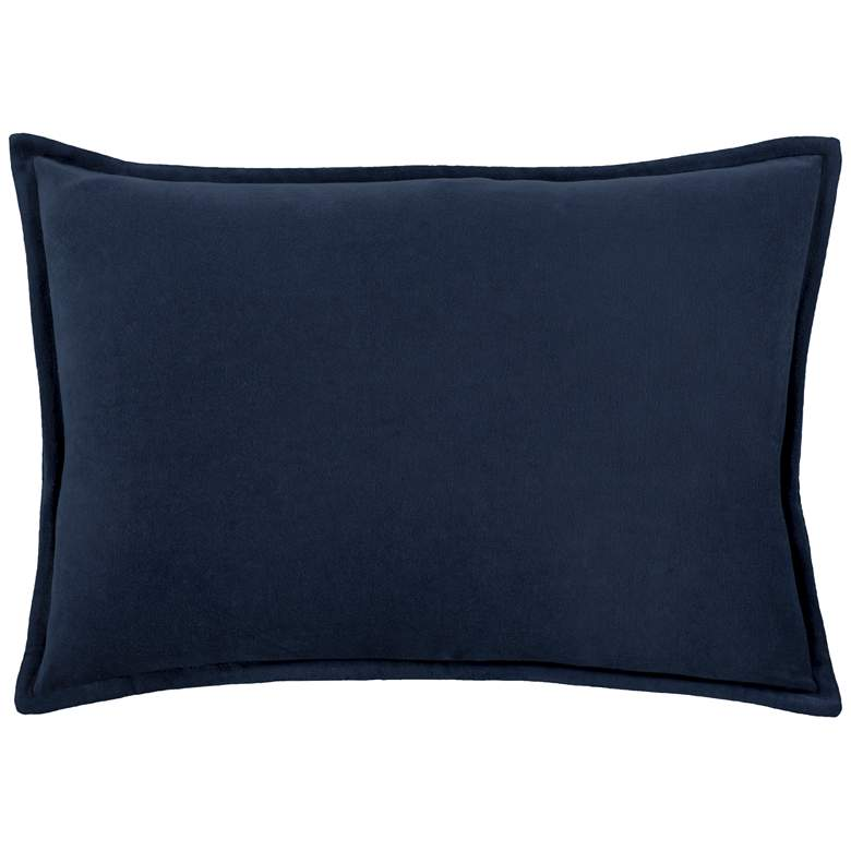 "Surya Cotton Velvet Navy 19"" x 13"" Decorative Throw Pillow"