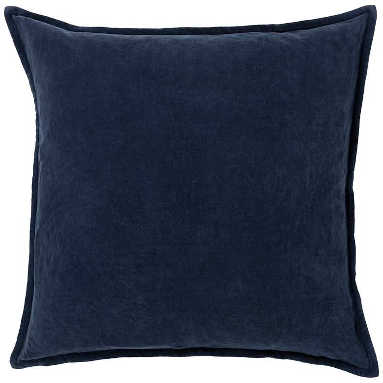 "Surya Cotton Velvet Navy 18"" Square Decorative Throw Pillow"