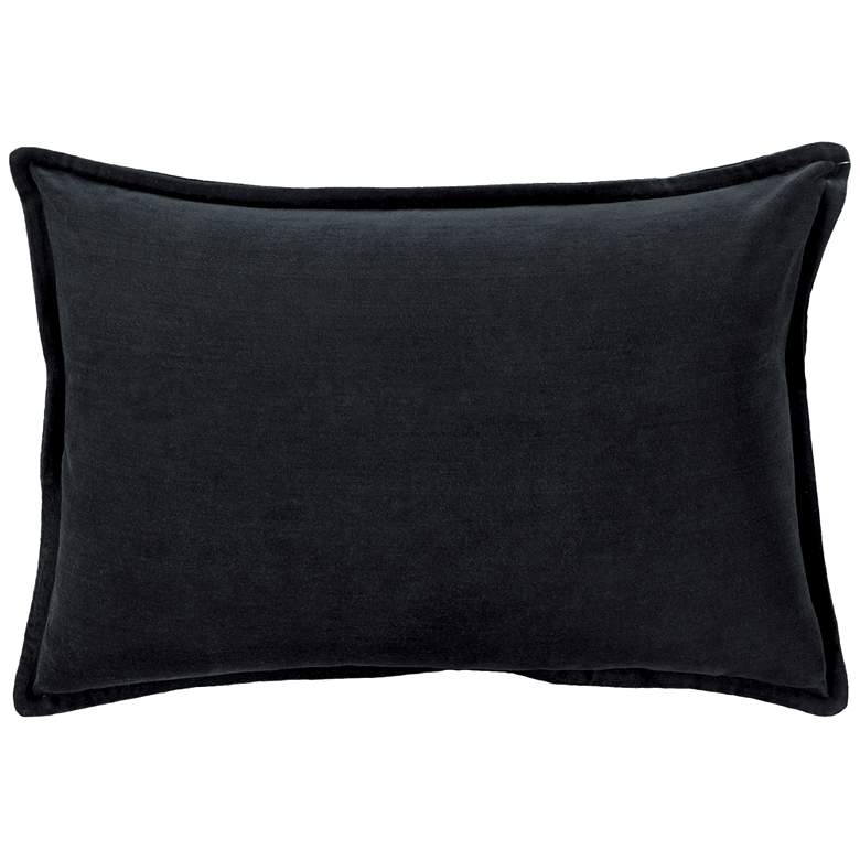 "Surya Cotton Velvet Black 19"" x 13"" Decorative Throw Pillow"