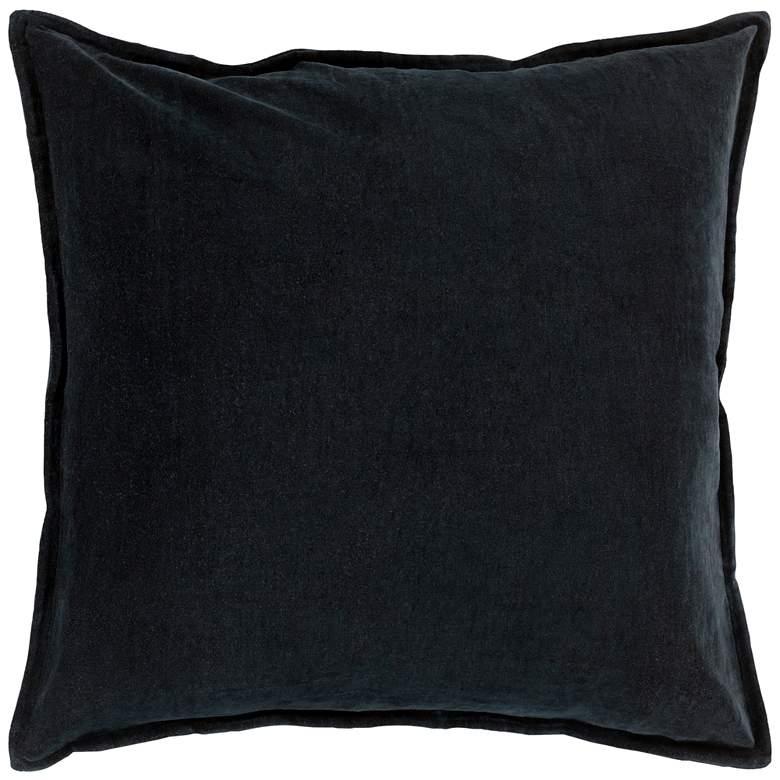 "Surya Cotton Velvet Black 22"" Square Decorative Throw Pillow"