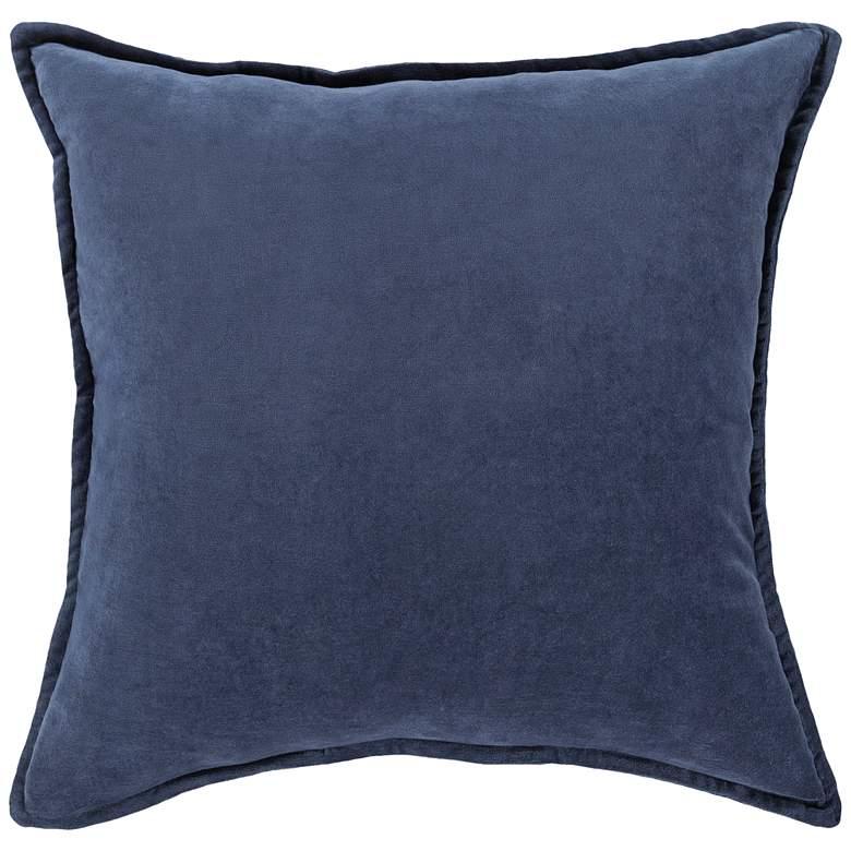 "Surya Cotton Velvet Light Navy 20"" Square Decorative Pillow"