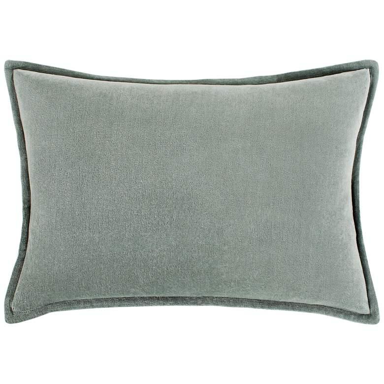 "Surya Cotton Velvet Sea Foam 19"" x 13"" Decorative Pillow"