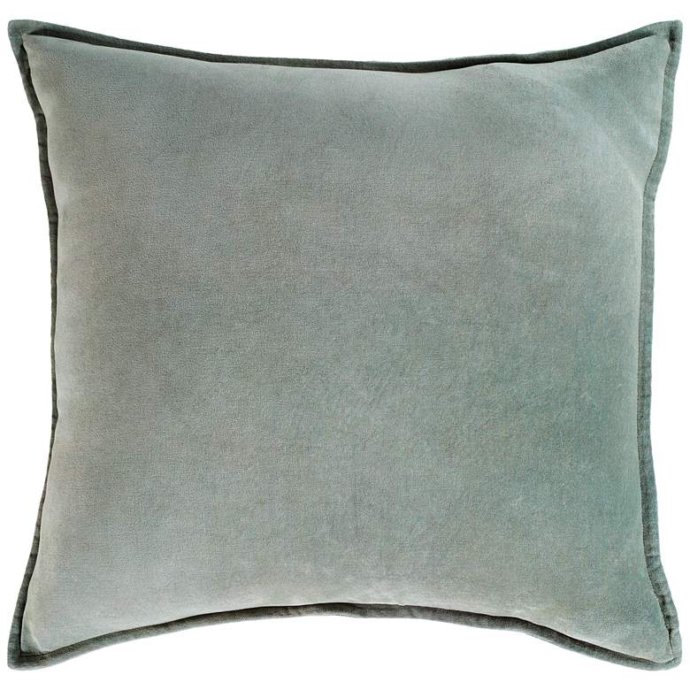 "Surya Cotton Velvet Sea Foam 18"" Square Decorative Pillow"