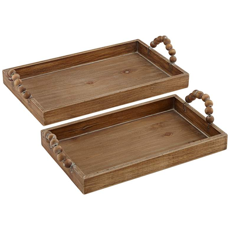 Horatio Matte Brown Sphere Handle Wood Trays Set of 2
