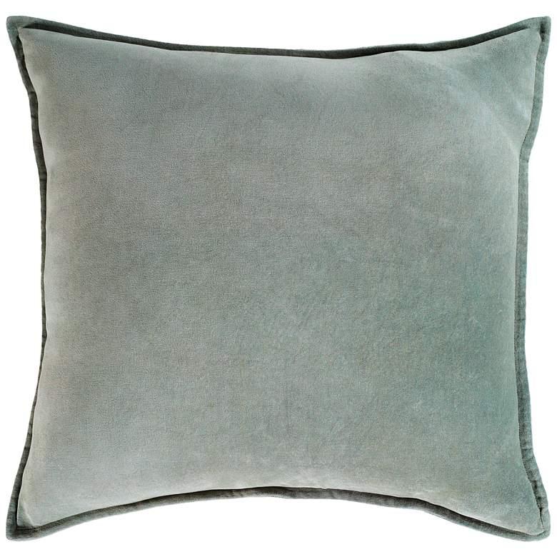 "Surya Cotton Velvet Sea Foam 22"" Square Decorative Pillow"