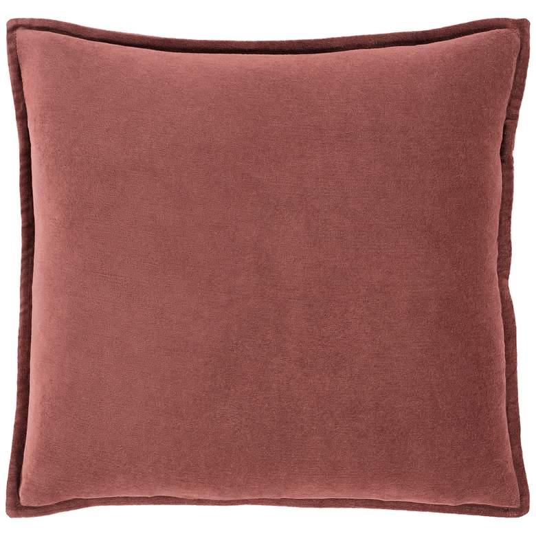 "Surya Cotton Velvet Rust 22"" Square Decorative Throw Pillow"