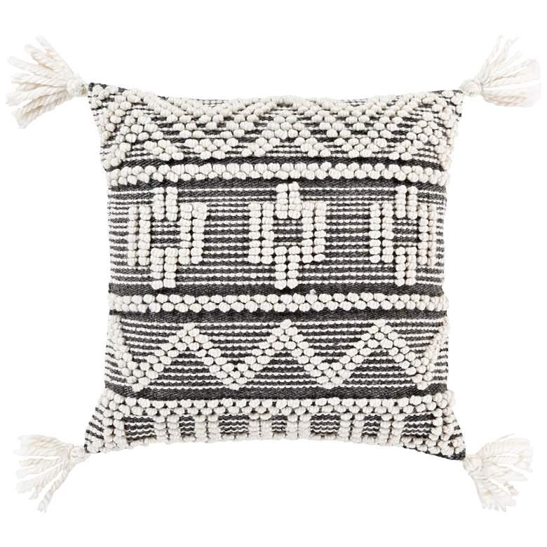 "Surya Faroe Black and Ivory 22"" Square Decorative Pillow"