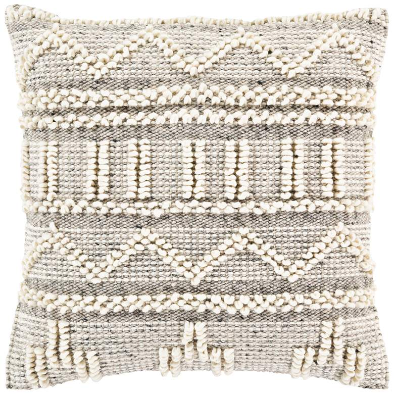 "Surya Faroe Khaki and Black 18"" Square Decorative Pillow"