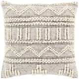 "Surya Faroe Khaki and Black 22"" Square Decorative Pillow"