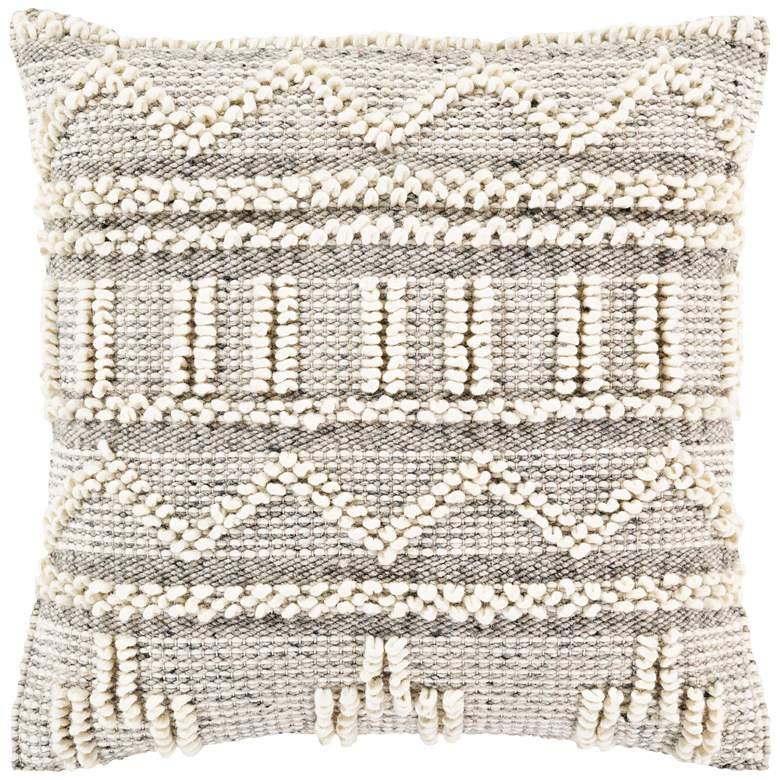 "Surya Faroe Khaki and Black 22"" Square Decorative Pillow"