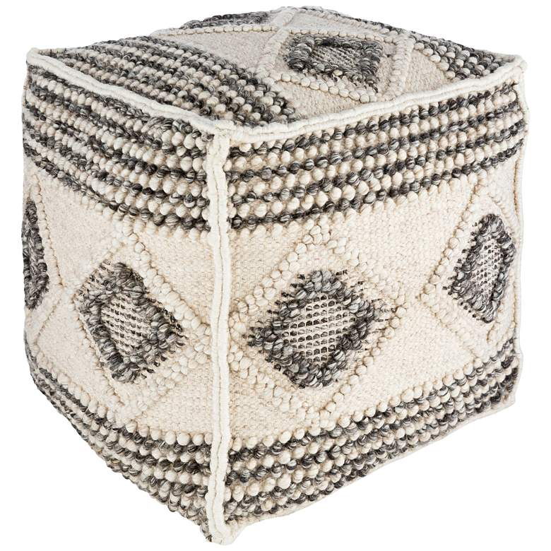 Surya Hygge Charcoal and White Wool Pouf Ottoman